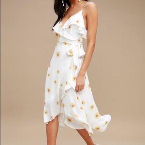 Lulus white floral print high low wrap dress